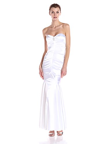 Xscape Women's Sweetheart Strapless Long Gown with Embellishment, White, 4