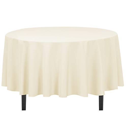 LinenTablecloth 90-Inch Round Polyester Tablecloth Beige