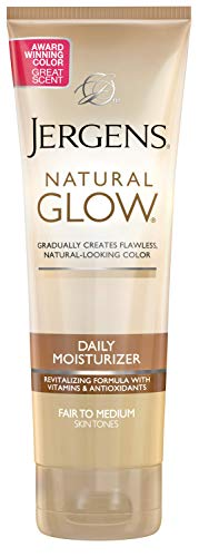 - Jergens Natural Glow Daily Moisturizer for Body, Fair to Medium Skin Tones, 7.5 Ounce Tube