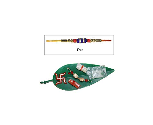 IndianStore4All Green Plastic Mango Tree Leaves Rakhi Plate (Bracelet, Kalava) for Raksha Bandhan Festival & Free Laxmi Ganesh Coin (Gold Red Green)