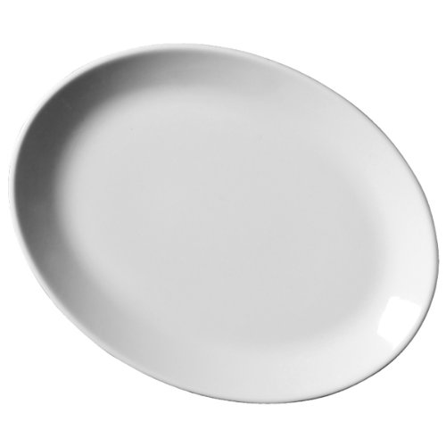 Royal Genware Oval Plates 31cm - Pack of 6 | 12.25inch Dinner Plates White  sc 1 st  Amazon UK & Superwhite Squashed Oval Unusual Shape Dinner Plate Set of 6 35cm x ...