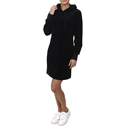 Velour Hooded Dress - Juicy Couture Black Label Womens Velour Hooded Sweatshirt Dress Black M