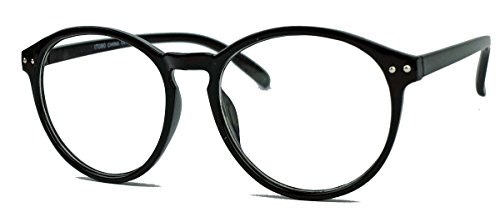 Classic Nerdbrille: große, fast runde Pantobrille filigrane Streberbrille Hornbrille clear lens (Schwarz / Mod.80)
