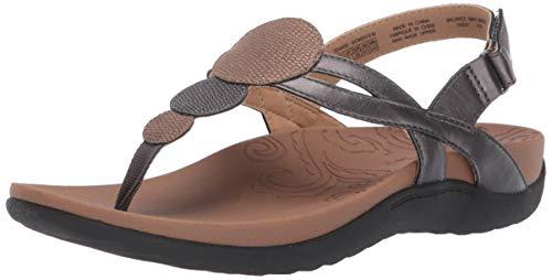 Rockport Women Ridge Circle Thong Slide Sandal, Pewter, 10 W US (Thong Leather Slides)