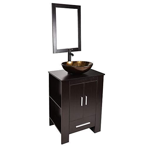 24 inch Bathroom Vanity Set - Combo MDF Sink Cabinet Vanity with Counter Top Glass Vessel Sink Vanity Mirror and 1.5 GPM Faucet (Depot Home Vanity Set)