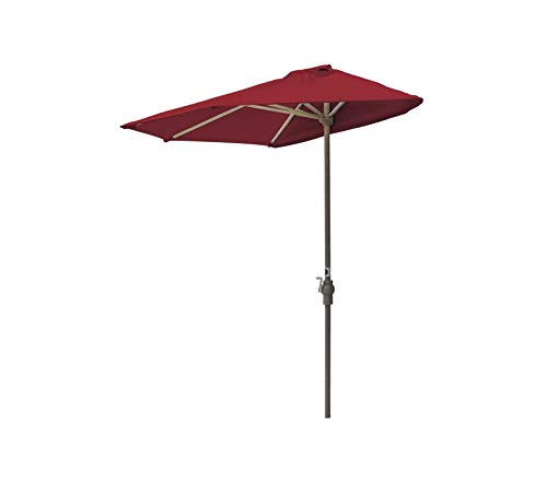 Wood & Style Patio Outdoor Garden Premium Brella Olefin Half Umbrella, 9'-Width, Red