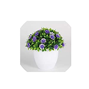 Wild-World DECOR 1 pcs minitree Artificial Plant Bonsai Plastic vase Indoor and Outdoor Home Decoration Flowers Potted Creative Ornaments,Purple 78
