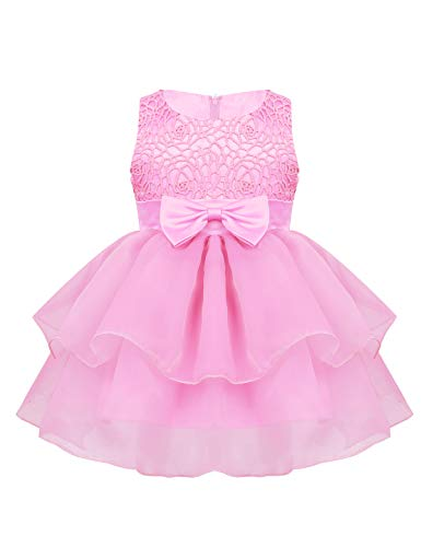 iiniim Baby Girl Sparkling Rose Flower Ruffle Layers Baptism Dress Wedding Pageant Party Christening Gown Embroidered Pink 0-6 - Rose Organza Embroidered Dress
