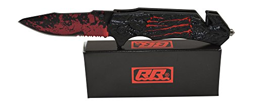 Rogue River Tactical Knives Black Red Zombie Monster Claw Spring Assisted Rescue Pocket Knife with belt clip Seat Belt Cutter Window Breaker