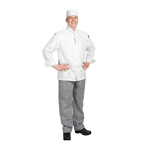 Chef Revival J049 24/7 Poly Cotton Blend Long Sleeve Unisex Cool Crew Jacket with Clear Pearl Bottons, Small, (Cool Crew Jacket)