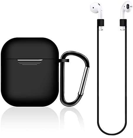 AirPods Case Silicon with Earbuds Strap and Keychain Upgraded Ultra-Thin Soft Skin Cover Compatible with Apple AirPods 2 & 1 -(AirPods Case-Black)