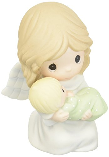 Angel Bisque (Precious Moments 152007 Safe In The Arms of An Angel, Bisque Porcelain Figurine)