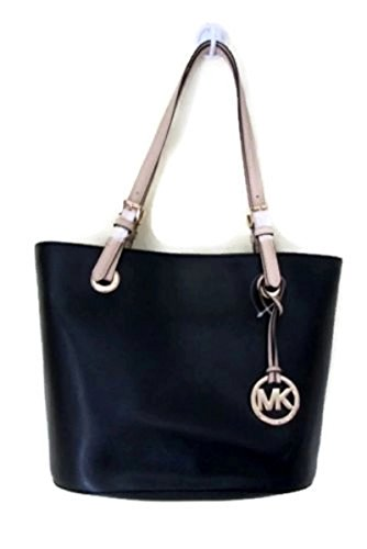 New Michael Kors Logo Purse Tote Medium Hand Bag Genuine Leather Black Jet Set