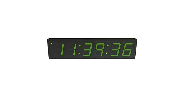 Reloj digital de precisión alimentado vía Ethernet (PoE) de 10,2 cm de altura, 6 dígitos verdes, carcasa de acero negra: Amazon.es: Electrónica