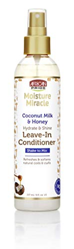 African Pride Moisture Miracle Coconut Milk & Honey Leave-In Conditioner - Refreshes & Softens Natural Coils & Curls, Hydrates & Shines, 8 oz