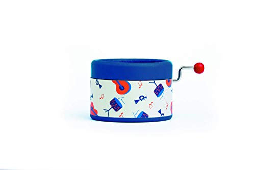 Hand Cranked Little Jazzy music box with the song Fly me to the moon in a gift packaging