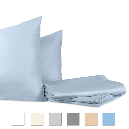 700 Thread Count, 100% Cotton, Queen Sheets, Sateen Weave Sheet Sets, Quality Luxury Bedding, 4 Pc sheet set, Fits upto 15 inches Deep Pockets, Hotel Collection, BESTSELLER (Queen, Frost) (700 Thread Count)