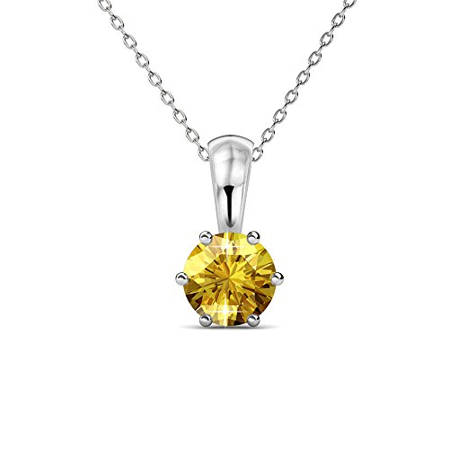 - Cate & Chloe White Gold Birthstone Necklace, 18k Gold Plated Necklace with Citrine 1ct Birth Stone Swarovski Crystal, November Birthstone Jewelry for Women