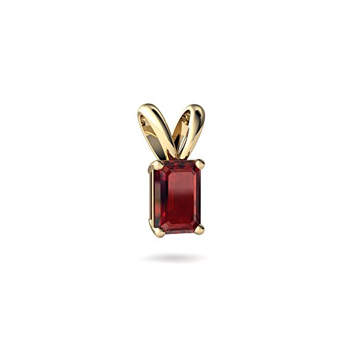 Emerald Cut Solitaire Pendant - 14kt Yellow Gold Garnet 6x4mm Emerald_Cut Solitaire Pendant