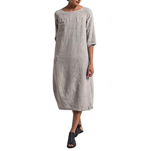✔ Hypothesis_X ☎ Women Plus Size Dresses Cotton Linen Casual Dress Solid Short Sleeve Round Neck Dress Gray (14k Yellow Gold Glitter)
