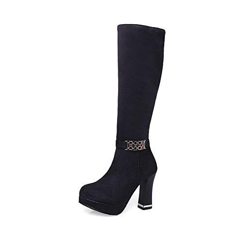 AgooLar Damen Weiches Material Reißverschluss Rund Zehe Stiletto Mitte-Spitze Stiefel, Braun, 34