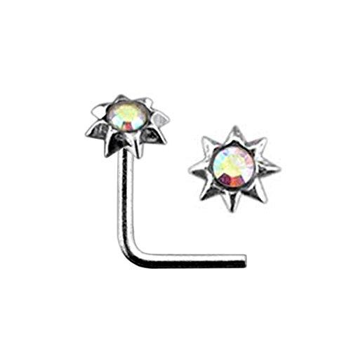 Rainbow Jeweled SUN Top 22 Gauge Silver L Bend Nose Stud Piercing Jewelry