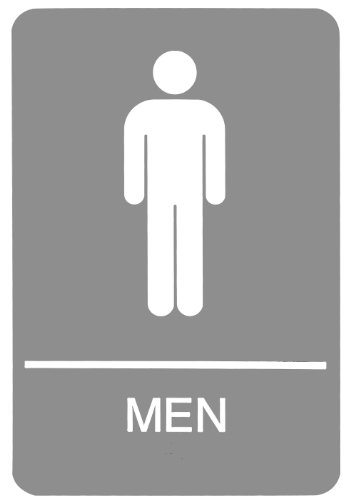 Headline Sign 5216 ADA Men's Restroom Sign with Tactile Graphic, 6 Inches by 9 Inches, Light Gray/White