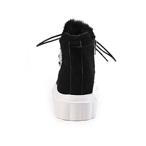 Sport de Chaussure Cuir Ville Botte Lacets Courte à 35 pour Femme Noir LFEU 39 Chaude Compensé en Salle Confortable Talon gqpxwfwn