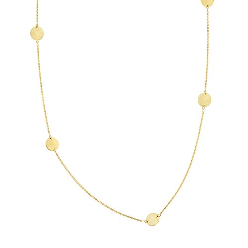 14k Yellow Gold Station Disk Necklace Adjustable Length 14k Yellow Gold Station