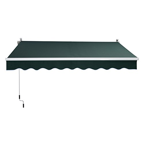 Outsunny 8' x 7' Manual Retractable Sun Shade Patio Awning - Green