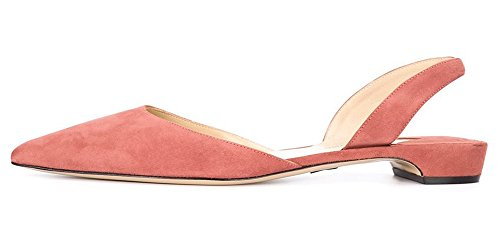 Flats Pumps for Toe Pointed Pink 15 Casual Suede Shoes Women D'orsay FSJ Size Dress 4 Slingback YRWwaqnWt