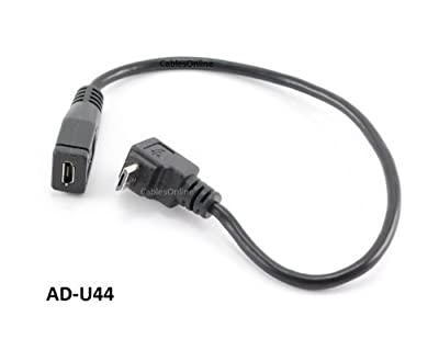 CablesOnline 9in USB Micro-B Male Right Angle (Up Position) to Female Extension Cable (AD-U44)