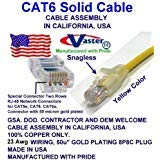 (Made in USA, Vaster SKU -81979-6 Ft Cat6 Patch Cable Yellow (Not CCA Wire 100% Copper (UL CSA CMR ETL) 23Awg Solid Wire RJ45 Snagless Straight Patch Cable)