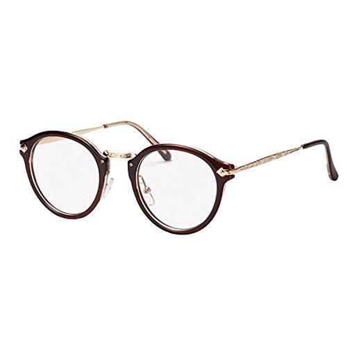 Brillen Nerdbrille Dekogläser Klassisches Rund Rahmen Golden Muster Bein (Braun)