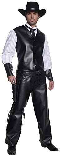 Smiffys Men's Authentic Western Gunslinger Costume, Vest with Faux Shirt, Chaps and Dicky Bow, Western, Serious Fun, Size M, -