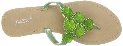Unze Evening Slippers L18826W - Sandalias de cuero para mujer Verde