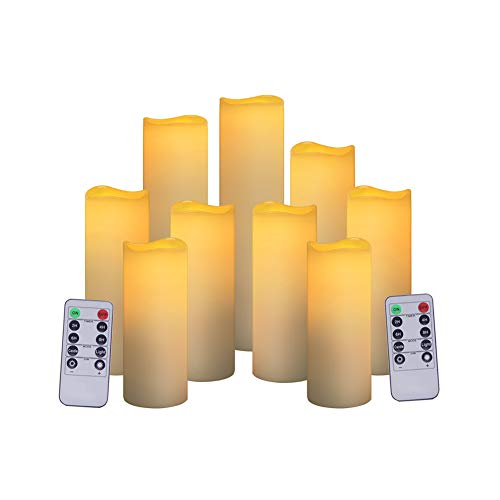 "lameless Pillar Candles Flickering, Set of 9(H5""5.5""6""7""8""8.5""xD2"") Real Wax LED Christmas Candles Battery Operate Moving Flame Unscented Fake Candles with 10-Key Remote Control and Cycling 24 Hours"