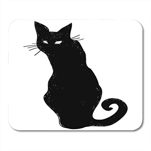 Gaming Mouse Pad Vector Black Silhouette of a Sitting Cat Crow Characters Halloween 7.18.7 Inches Decor Office Nonslip Rubber Backing Mousepad Mouse Mat -