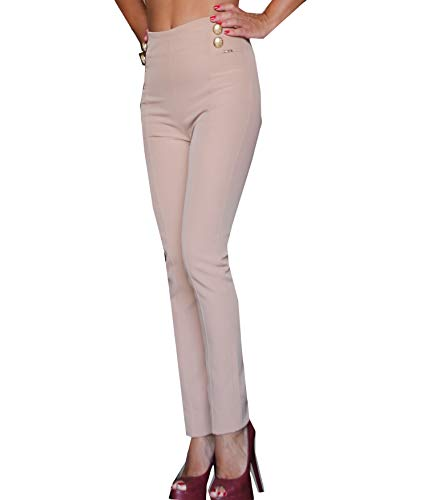 HANNY DEEP pantaloni pants donna woman elegante beige vita alta bottoni 42 primavera estate Beige