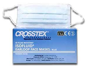 Crosstex GCIBL Latex-Free Isofluid Earloop Mask, Blue (Pack of 50)