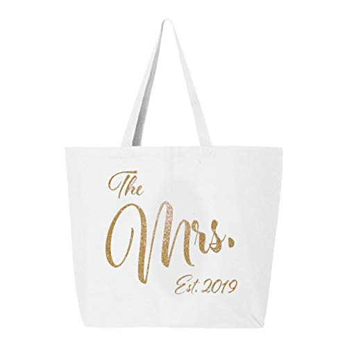 The Mrs. Est. 2019 Large Bridal Tote Bag - White and Glitter Gold (Best Tote Bags 2019)