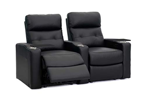 (Octane Contour Leather Power Headrest & Power Recline Home Theater Recliners, Black (Set of)
