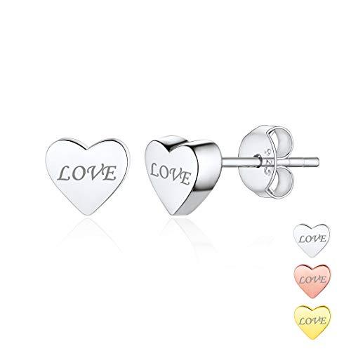 Hypoallergenic 925 Sterling Silver Minimalist Heart Earrings Studs Mini Dainty Love Heart Stud Earrings for Women Girls