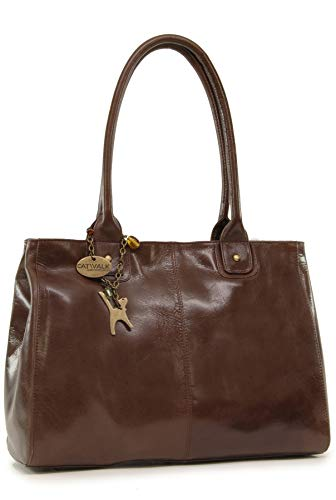 Cuero estilo de Marrón CATWALK vintage shopper Grande hombro Bolso KENSINGTON COLLECTION Ztt1TqX0
