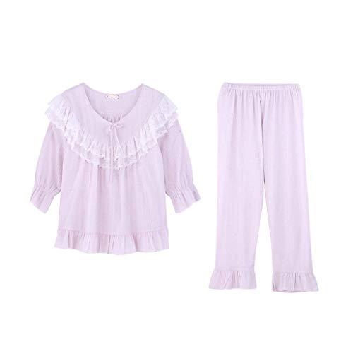 Conjunto Otoño De Cómodo Redondo Manga Hogar Elegantes El Dormir Ropa Moda Pijama Anchas Cuello Informales Mujer Pantalones Larga Para Primavera Lila Pijamas dC5xIdB