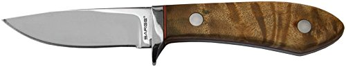 Sarge Knives SK-922 Tom Kreger Fixed Blade Bird Knife with 2-1/2-Inch Stainless Steel Blade and Maple Burl Wood Polished Stainless Finger Guard ()