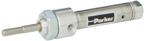 Single Acting Spring - Parker .44RSR00.5 Stainless Steel Air Cylinder, Round Body, Single Acting, Spring Extend, Nose Mount, Non-cushioned, 7/16 inches Bore, 1/2 inches Stroke, 3/16 inches Rod OD, #10 UNF Port