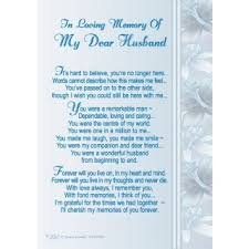In Loving Memory Of My Dear Husband Graveside Memorial Card With