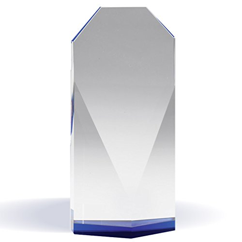 - Customizable 7-3/4 Inch Beveled Optical Crystal Tower Blue Base, includes Personalization