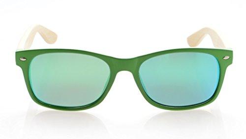 Espejo con de Verde Verde Madera Polarizadas Marco Brazo Bambú Gafas Sol Hombre de Eyekepper Clásicas de para aBqBxT
